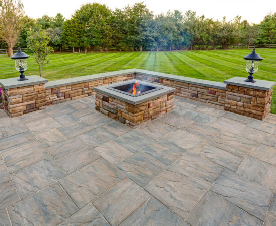 ep henry chiseled stone in slate green with stone firepit