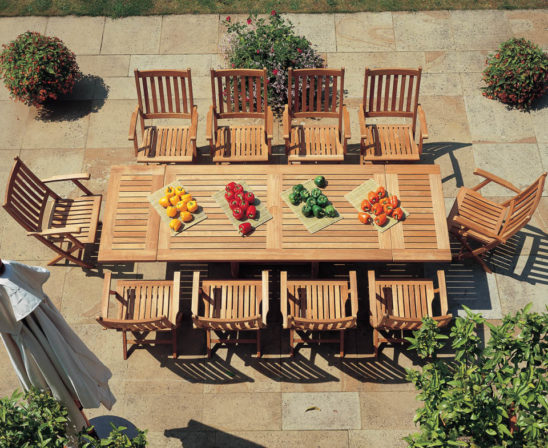 barlow tyrie teak ascot dining set with table and seating for 10