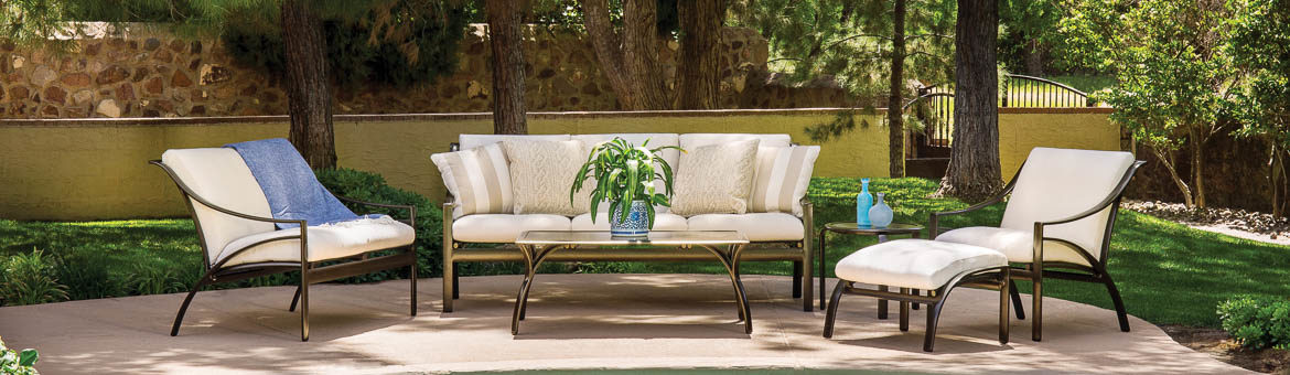 brown jordan pasadena outdoor collection with deep seated chairs, sofa and table