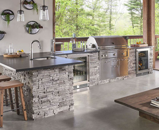 eldorado outdoor kitchen with gray stone base