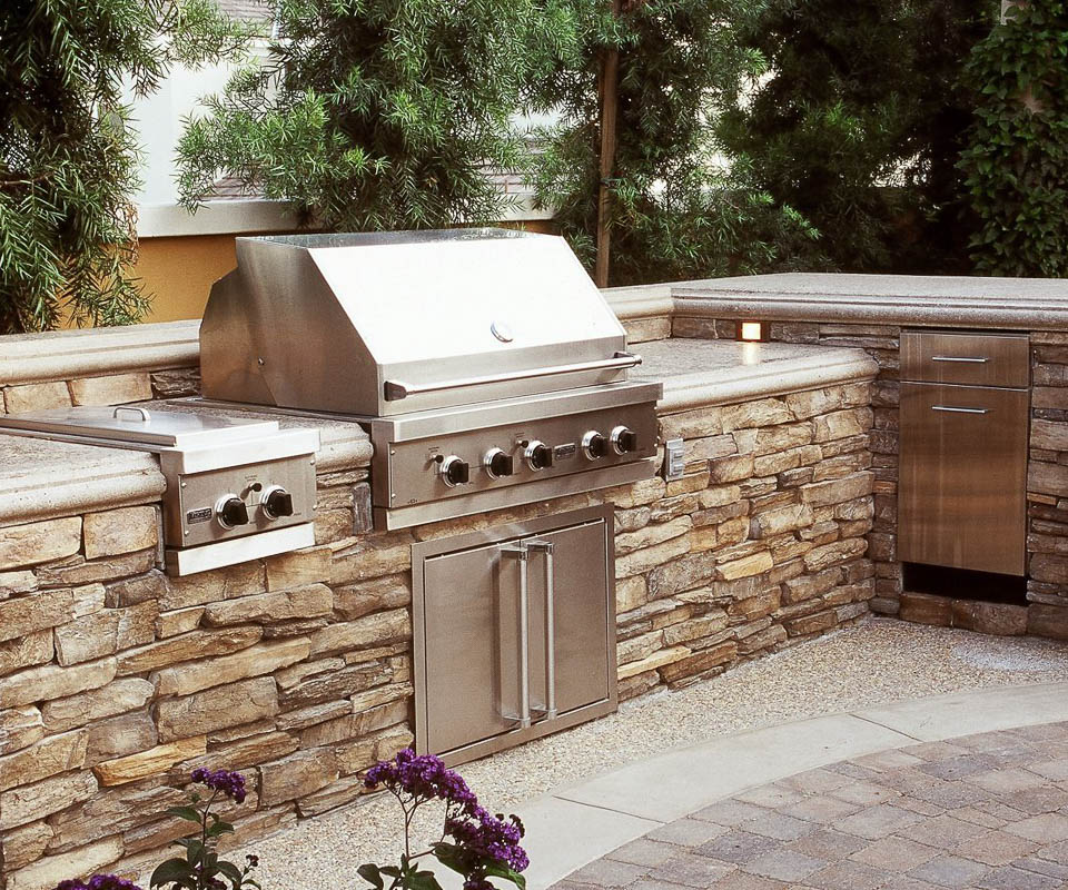eldorado outdoor kitchen with stone base and granite countertops