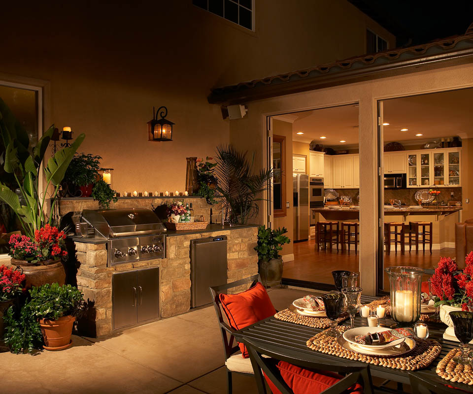 outdoor kitchen with outdoor living furniture