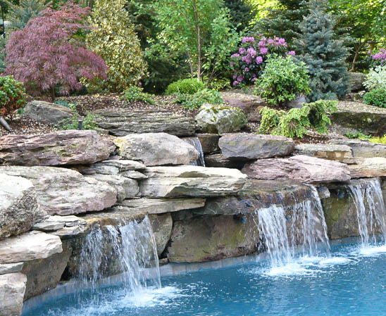 everlast fieldstone boulders for waterfall feature for in-ground pool