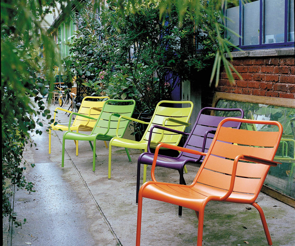 fermob multicolored Luxembourg chairs made in France