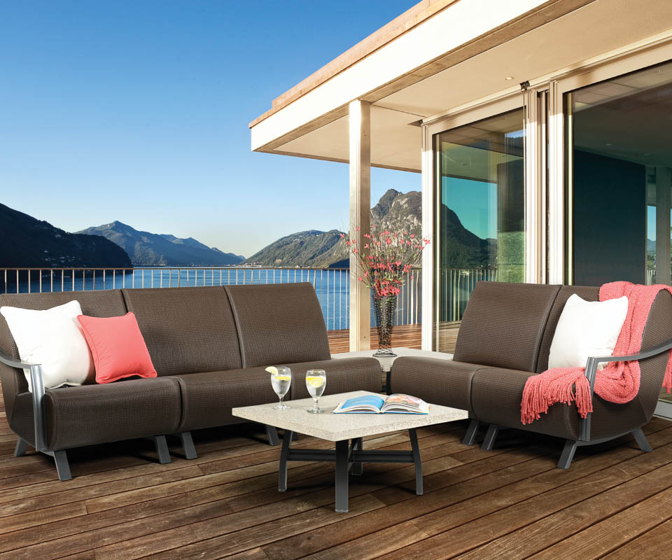 homecrest airo2 sling sectional overlooking mountains and lake