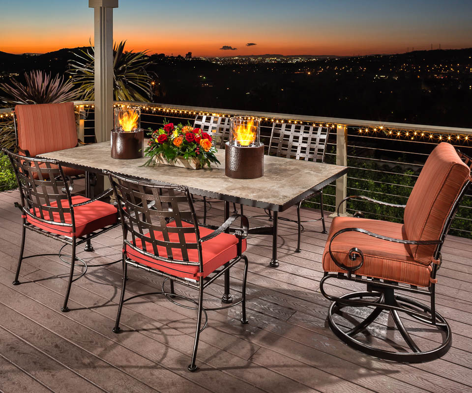 ow lee classico dining set with cast iron base, swivel armchairs and porcelain tabletop