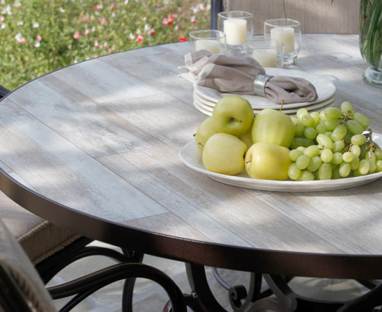 ow lee reclaimed porcelain table top for farmhouse look and cast iron base