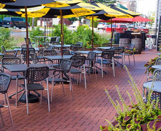 pine hall's stormpave bricks outside lancaster brewing company