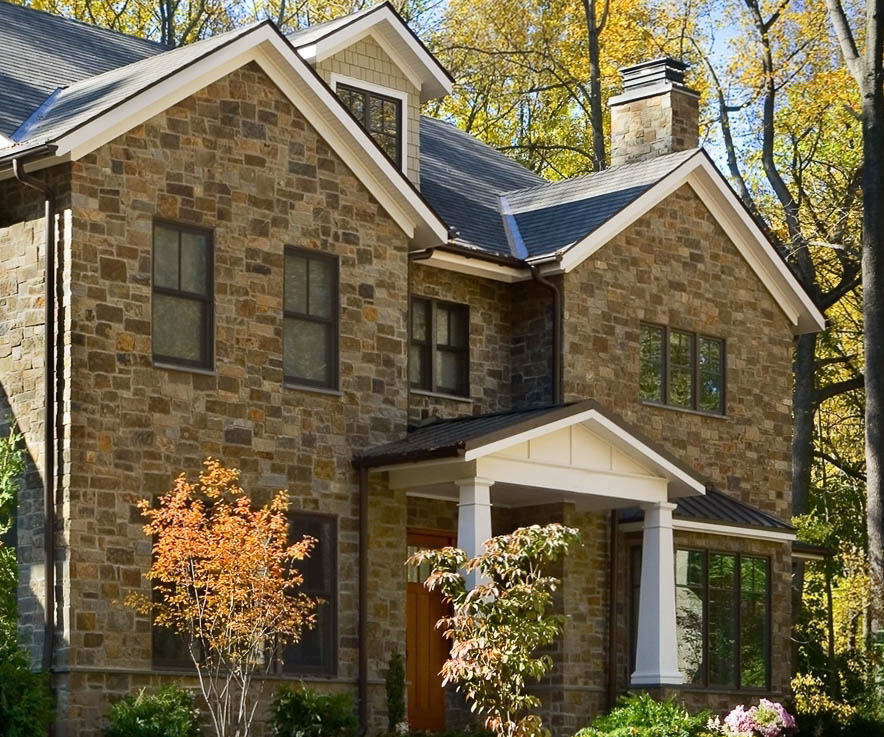 rolling rock natural stone veneer in wissahickon schist russet brown