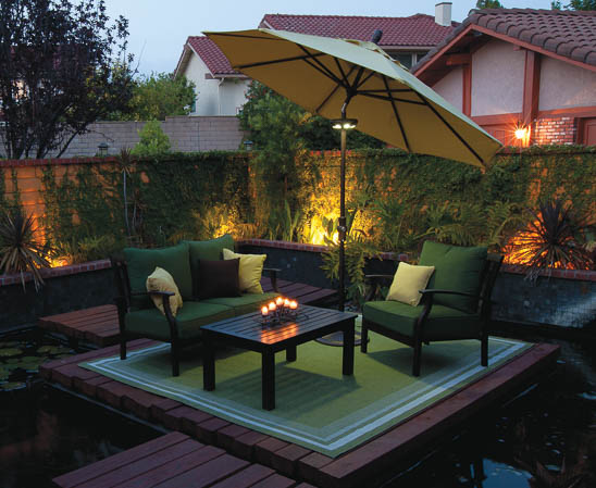 treasure garden octagon umbrella in evening
