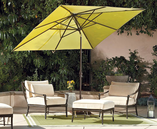 treasure garden square umbrella in green fabric with brown jordan outdoor furniture