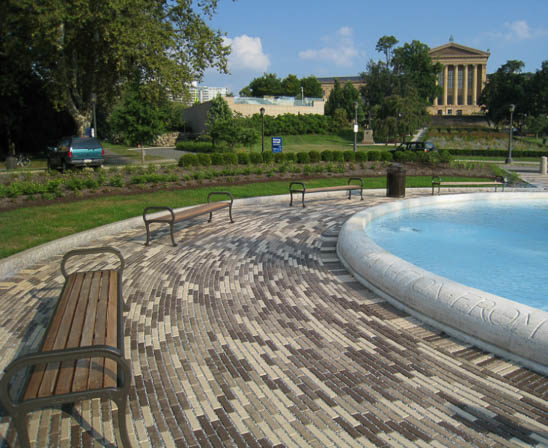 whitacre greer permeable boardwalk pavers outside philadelphia art museum