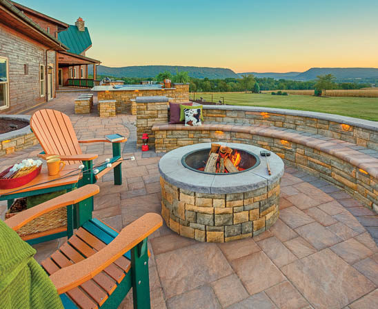 ep henry cast stone wall and fire pit with adirondack chairs