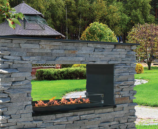 key west see through outdoor fireplace from firegear
