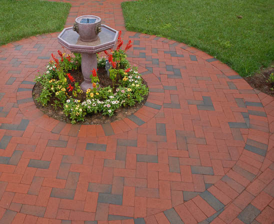 pine hall pathway full range brick paver patio with fountain