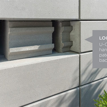 U-Cara wall by unilock is a patented system to build garden walls and retaining walls with a variety of fascia panel options attached to a solid backer block