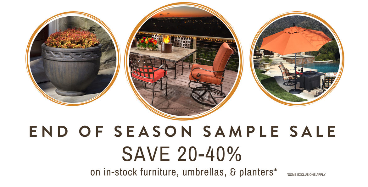 Sample sale on outdoor furniture and planters and fountains and umbrellas