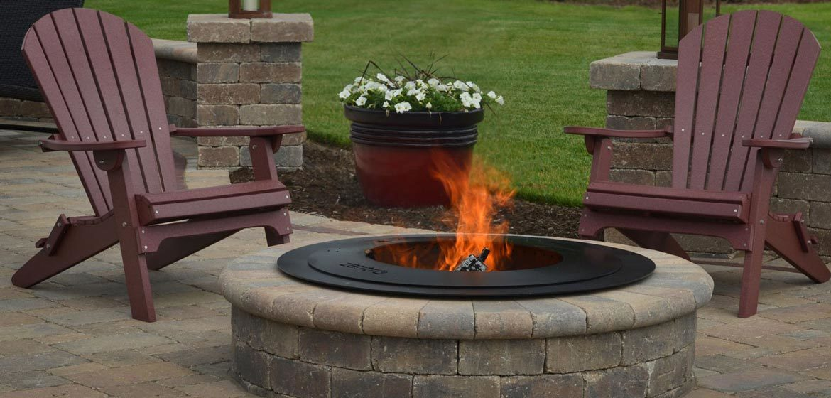 breeo zentro smoke-less fire pit insert in retaining wall block fire pit