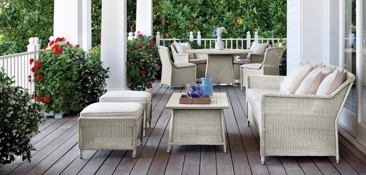 Southampton all-weather outdoor wicker from brown jordan on a stylish front porch