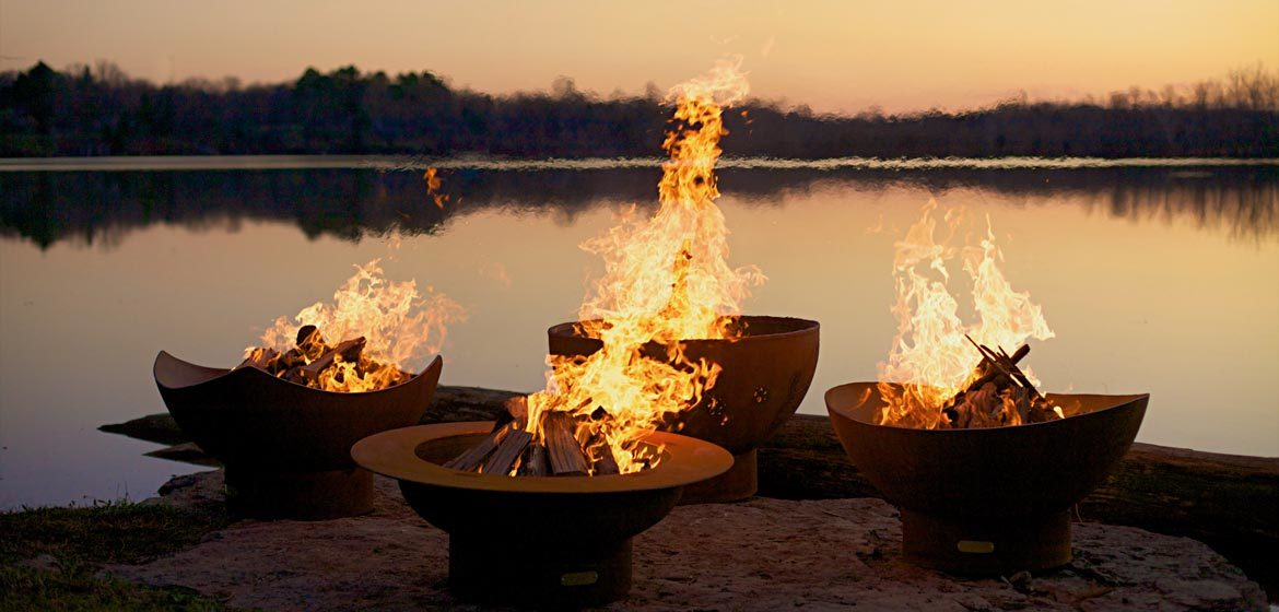 fire pit art product line featuring Penn Stone favorite designs manta saturn scallop and nepal
