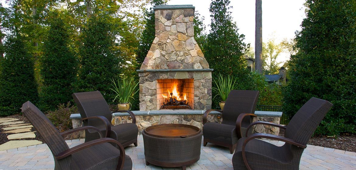 isokern standard outdoor fireplace with natural stone veneer