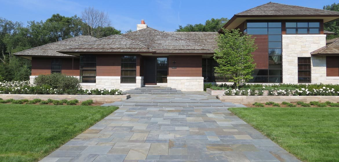 full color natural cleft pennsylvania bluestone flagstone full color installed in driveway