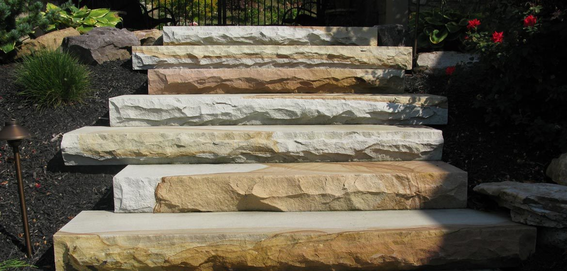 meshoppen stone west mountain heavy landscape steps with thermalled top and rockfaced edge