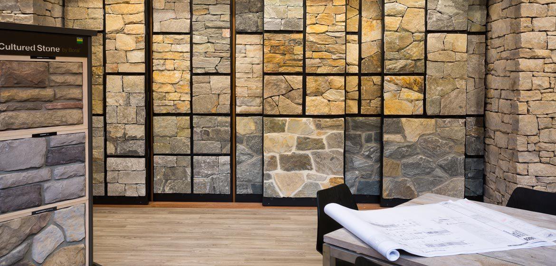 penn stone showroom natural stone veneer display 80 samples