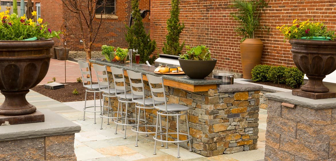 penn stone outdoor kitchen display with eldorado outdoor kitchen and aog american outdoor grill outdoor kitchen kegerator and andover natural thin stone veneer filo blue natural stone outdoor kitchen countertop