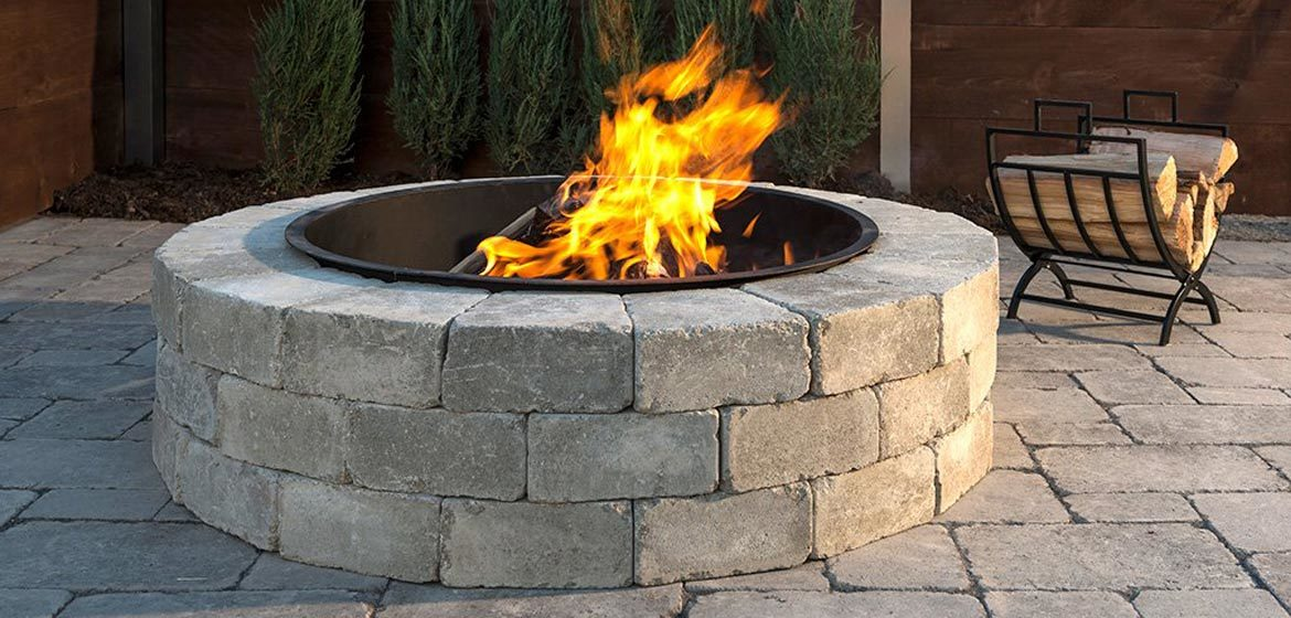 unilock sunset round fire pit
