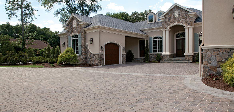 unilock transition concrete paver driveway