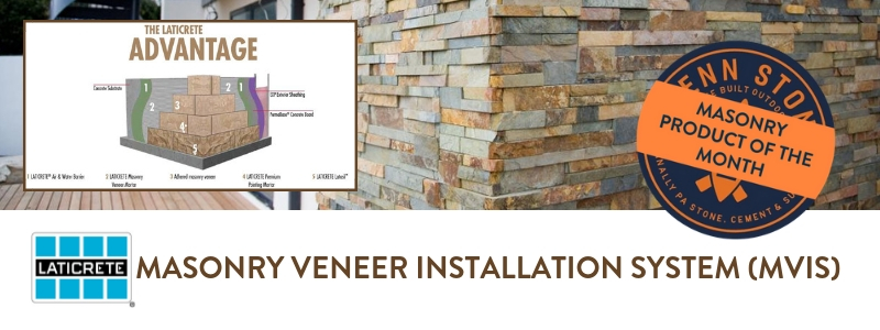 laticrete mvis masonry veneer installation system is penn stone's featured product for september 2018