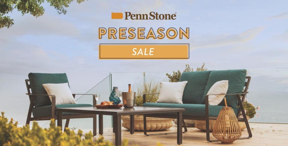 save on outdoor patio furniture during penn stone's preseason sale