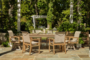outdoor dining set on a patio