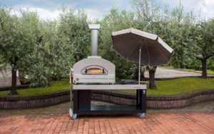 ALFA stone pizza oven on brick patio