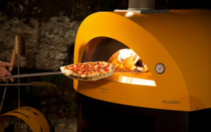 Pizza coming out of ALFA Allegro oven