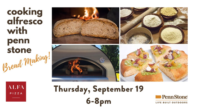 on september 19 penn stone will host alfa ovens to demonstrate baking bread in a wood fired oven