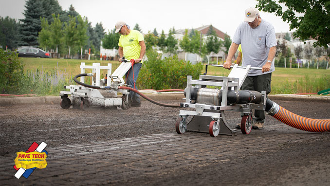 On September 25 Penn Stone welcomes Pine Hall Brick and PaveTech for a demonstration of PaveTech's TYPHOON Maintenance System for permeable pavement joint material