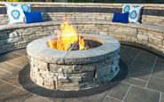 rivercrest fire pit in coastal slate color by unilock