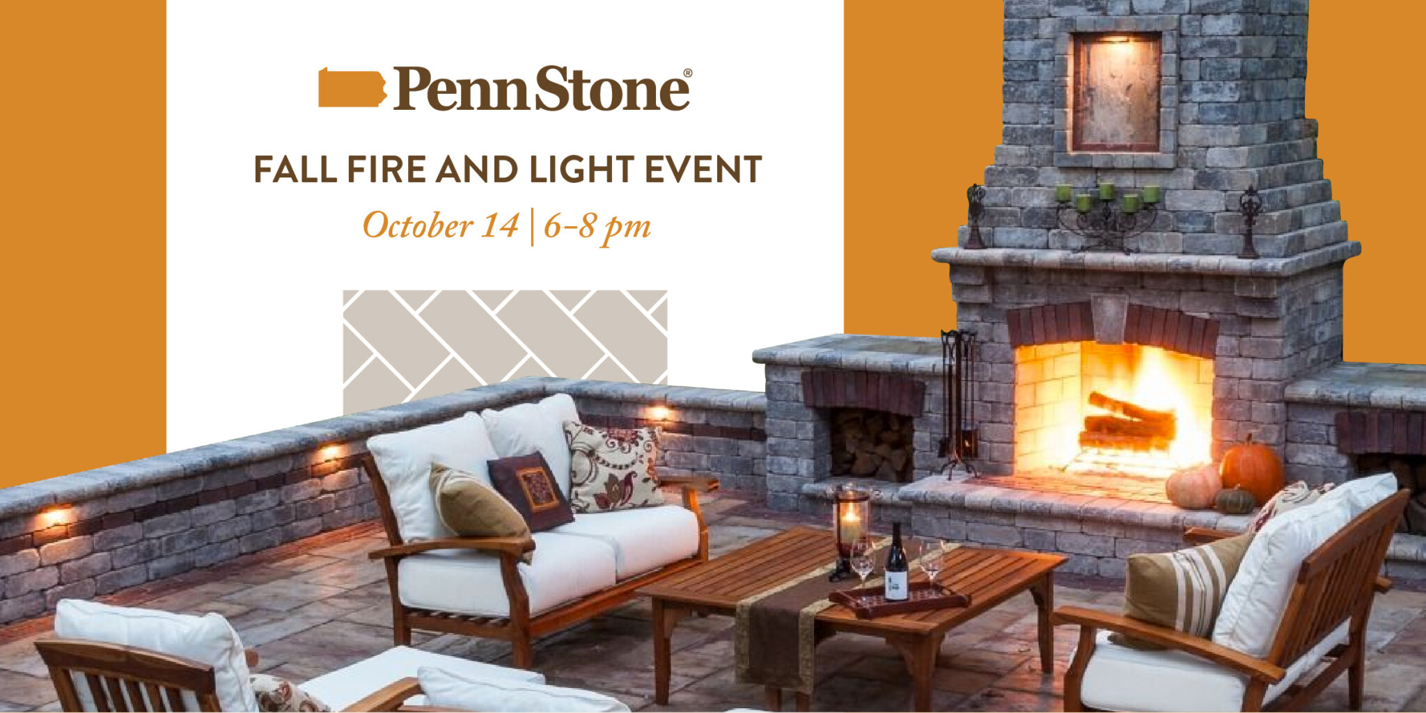 join us on thursday october 14 for a reception showcasing our collection of fire pits, outdoor fireplaces, pizza ovens and landscape lighting